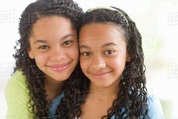 Portrait of two sisters (10-13) Royalty-free stock photo