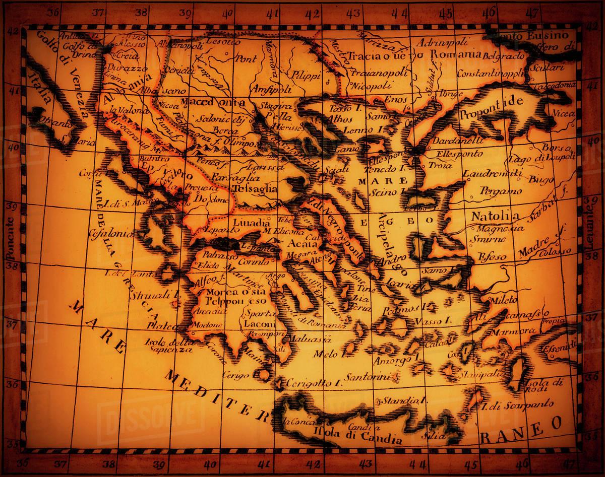 Studio shot of antique map showing Mediterranean area - Stock Photo ...