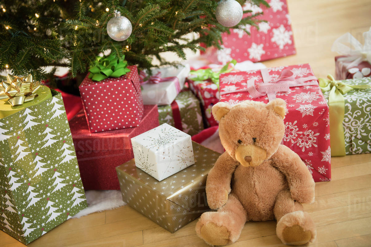 Christmas Presents Under Tree.Christmas Presents Under Tree Stock Photo