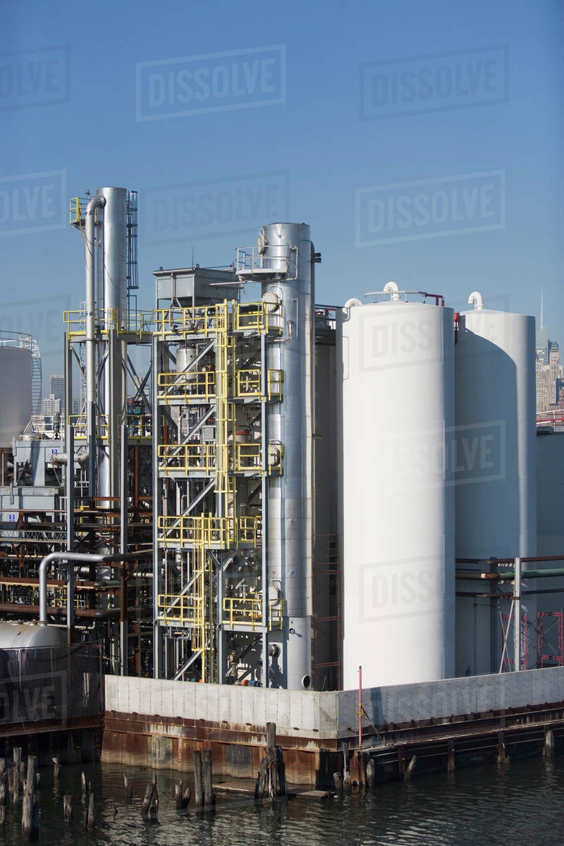 USA, New York City, Oil storage tanks in refinery stock photo
