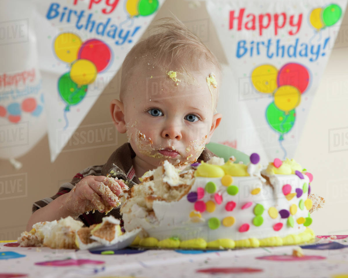 Remarkable Baby Eating Birthday Cake Stock Photo Dissolve Funny Birthday Cards Online Hendilapandamsfinfo