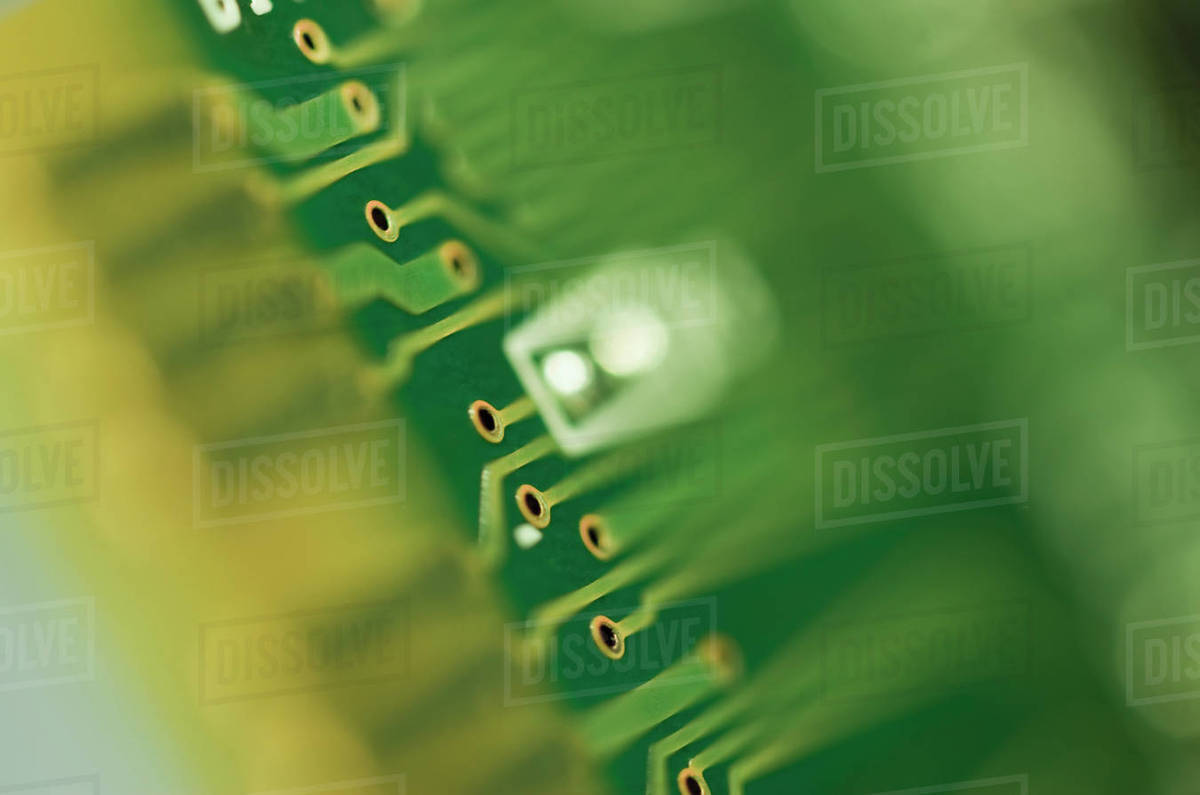 Close Up Of Computer Circuit Board Stock Photo Dissolve With Electronics Components Royalty Free