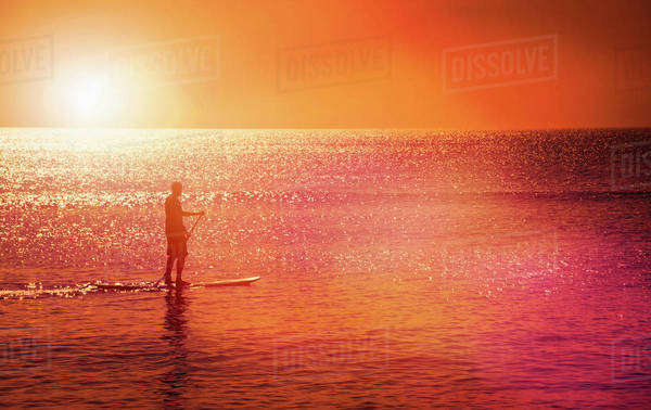Man standing on paddle board at sunset Royalty-free stock photo