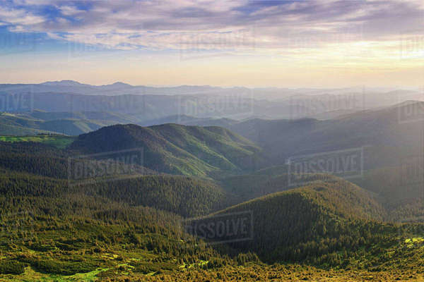 Ukraine, Ivano-Frankivsk region, Verkhovyna district, Carpathians, Chernohora, Mountain landscape covered with forest Royalty-free stock photo