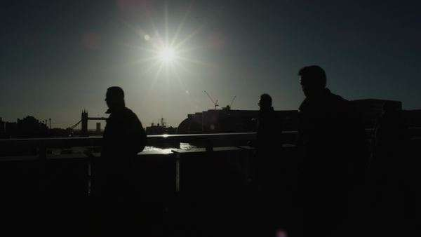 Slow motion shot of people crossing London Bridge Royalty-free stock video