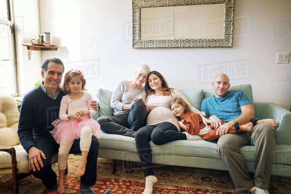 Portrait of family relaxing at home Royalty-free stock photo