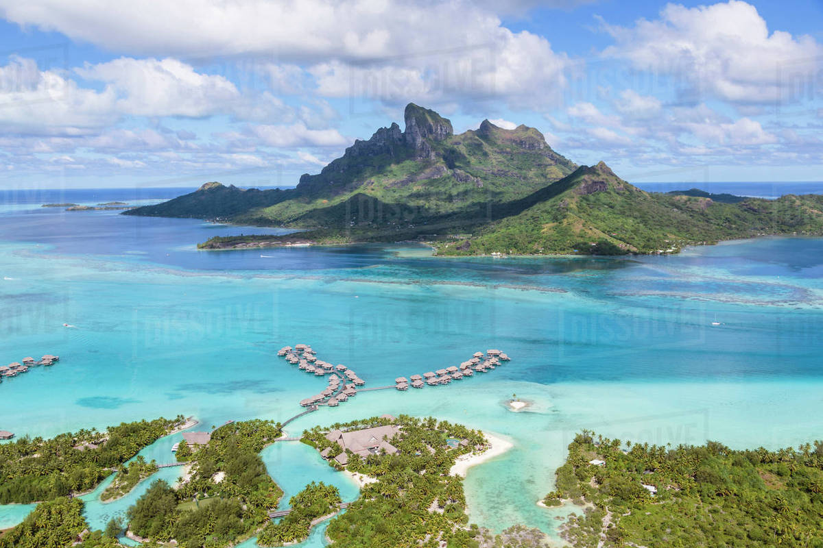 Aerial View Of Bora Bora Island Against Cloudy Sky D1061 121 133