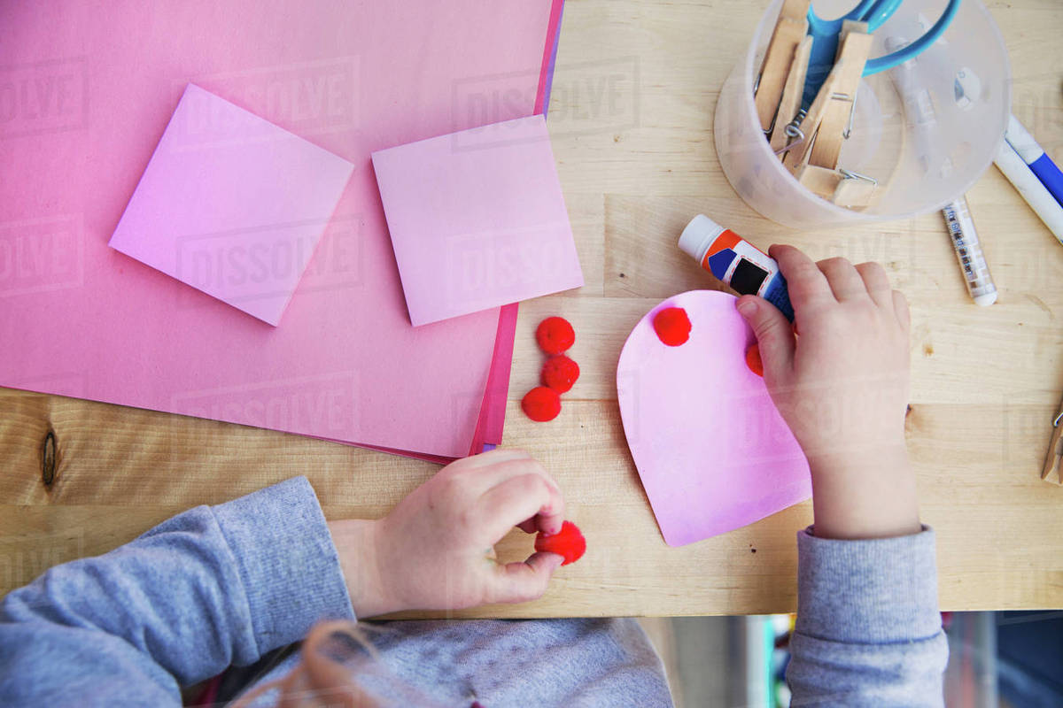 Midsection Of Making Valentine Greeting Card At Home D1061 131 143