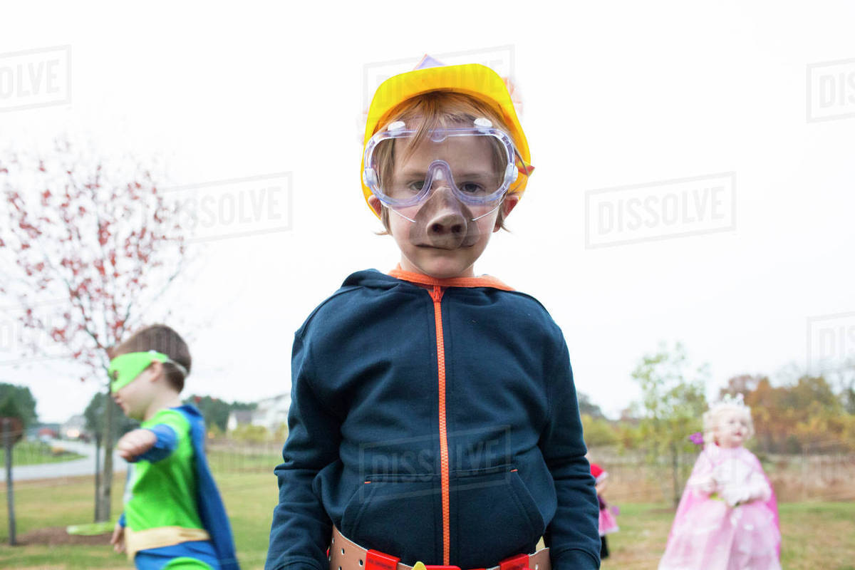 Siblings in costume standing on field against sky Royalty-free stock photo