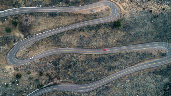High angle view of winding road Royalty-free stock photo