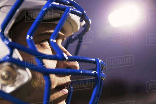 Close-up of American football player looking away Royalty-free stock photo