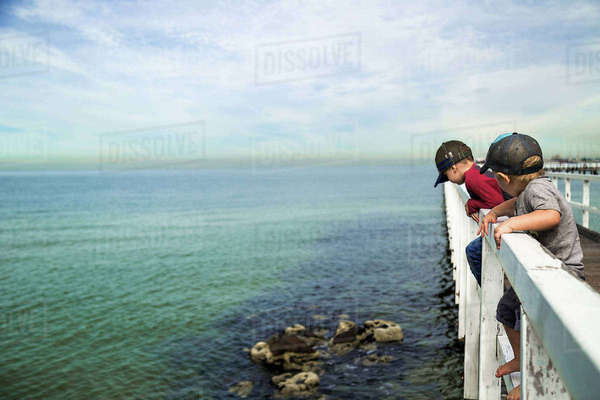 Brothers looking at sea while standing on railing of pier against cloudy sky Royalty-free stock photo