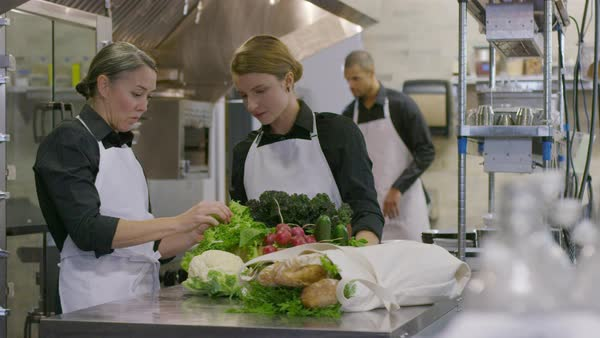 Handheld shot of female chef instructing coworker while looking at vegetables with male worker in background Royalty-free stock video