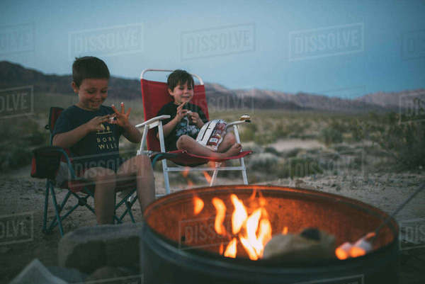 Happy brothers eating marshmallows while sitting on chairs at campsite during dusk Royalty-free stock photo