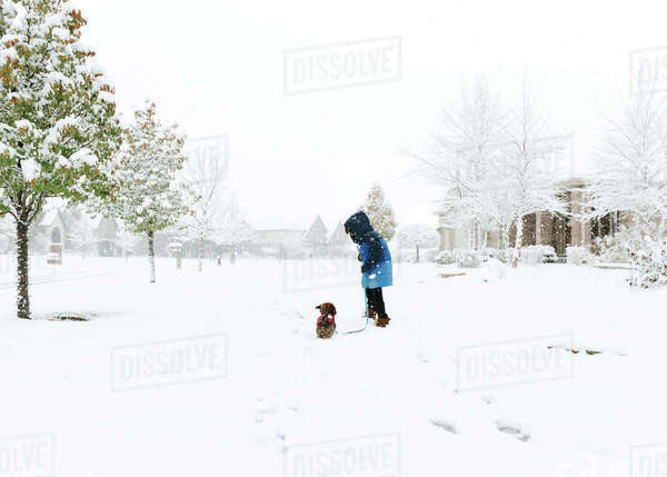 Boy with Shih Tzu standing on snow covered field Royalty-free stock photo