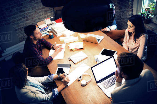 Five people in office during meeting Royalty-free stock photo
