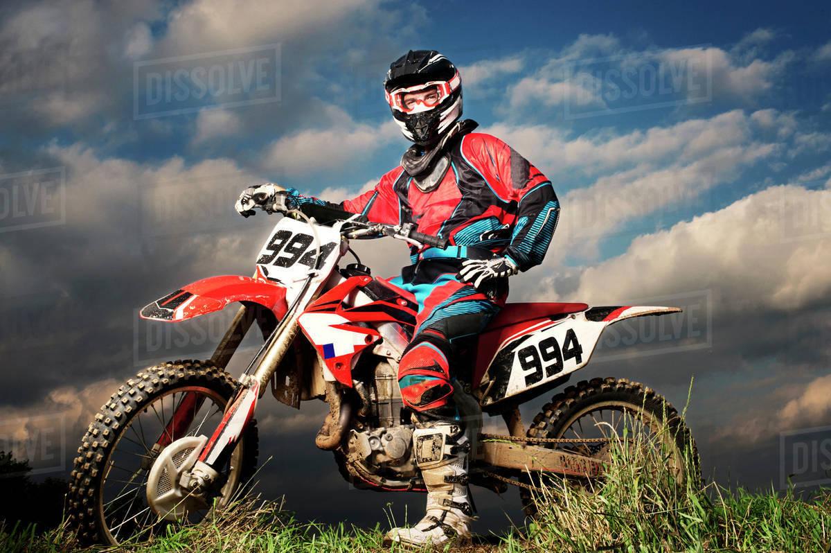 Motocross rider getting ready Royalty-free stock photo
