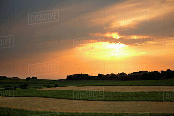 Scenic view of grassy field against cloudy sky during sunset Royalty-free stock photo