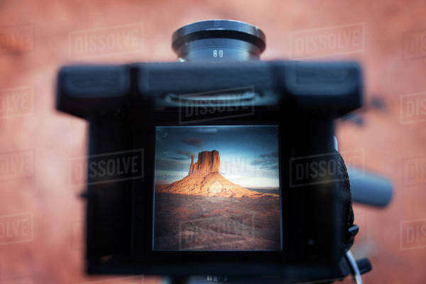 Scenic view of mountains seen in camera screen Royalty-free stock photo