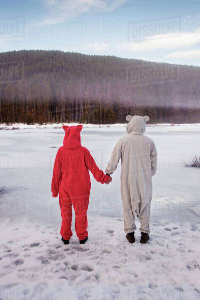 Rear view of couple in animal costume holding hands on frozen lake Royalty-free stock photo
