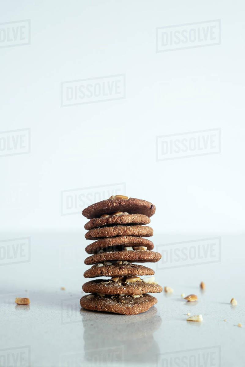 Stack of handmade peanut cookies Royalty-free stock photo