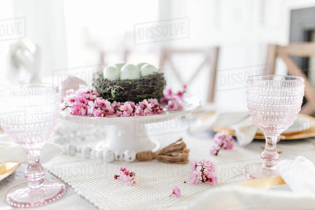 Close up of cherry blossom easter dining tablescape Royalty-free stock photo