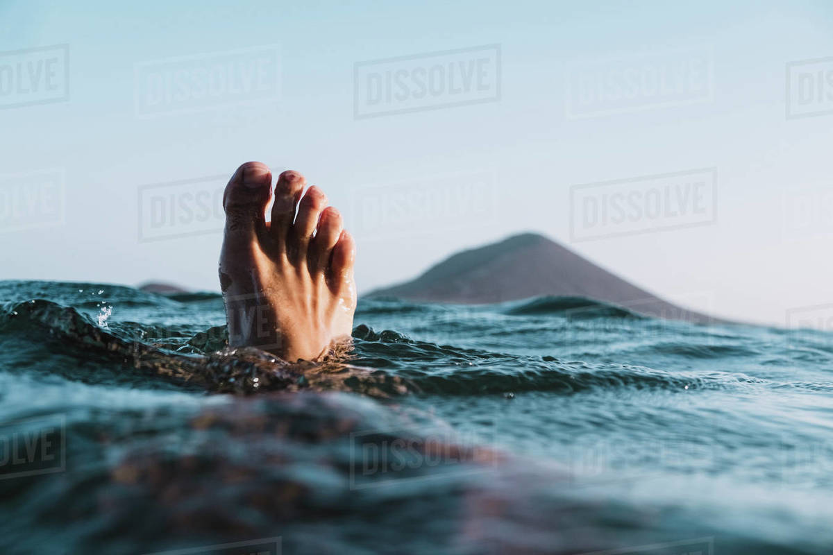 Foot selfie in the sea Royalty-free stock photo