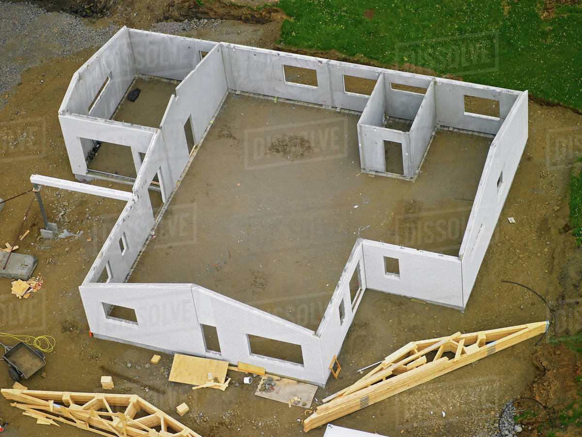 Aerial view of a pre built house assembly Royalty-free stock photo