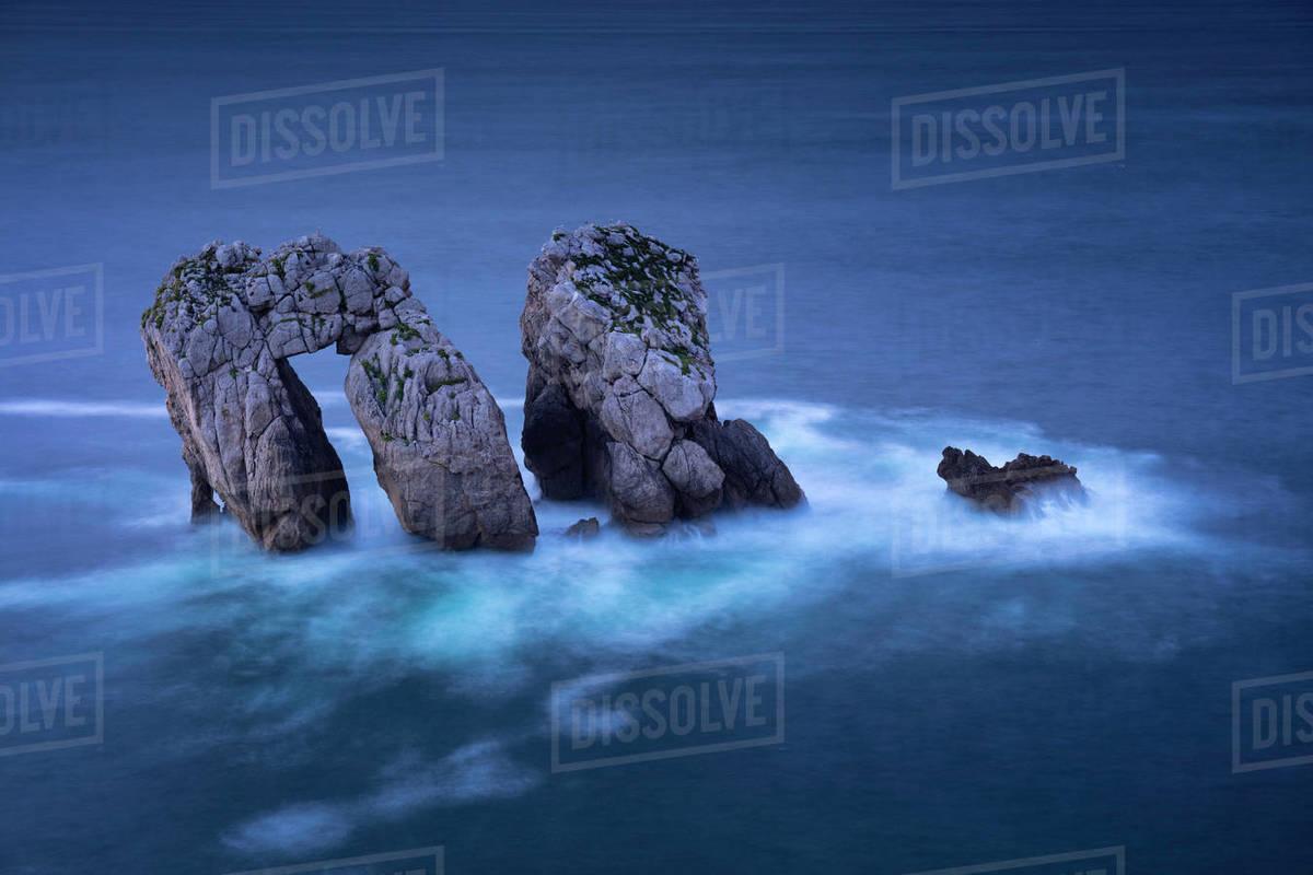 Amazing rock formation in Costa Quebrada, Cantabria, Spain Royalty-free stock photo
