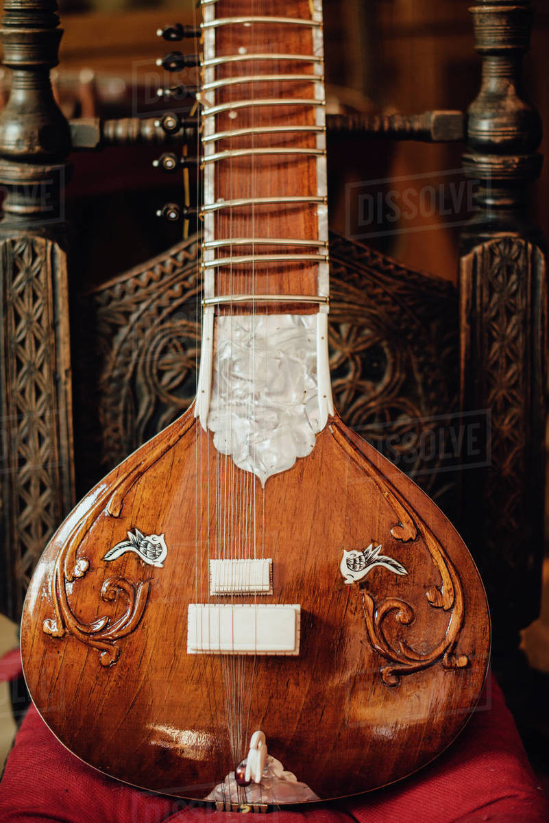 Close up photo of a sitar, traditional Indian musical instrument Royalty-free stock photo