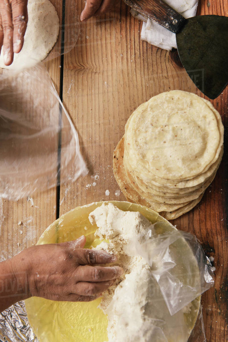 Overhead of a stack of fresh tortillas being handmade in Mexico Royalty-free stock photo