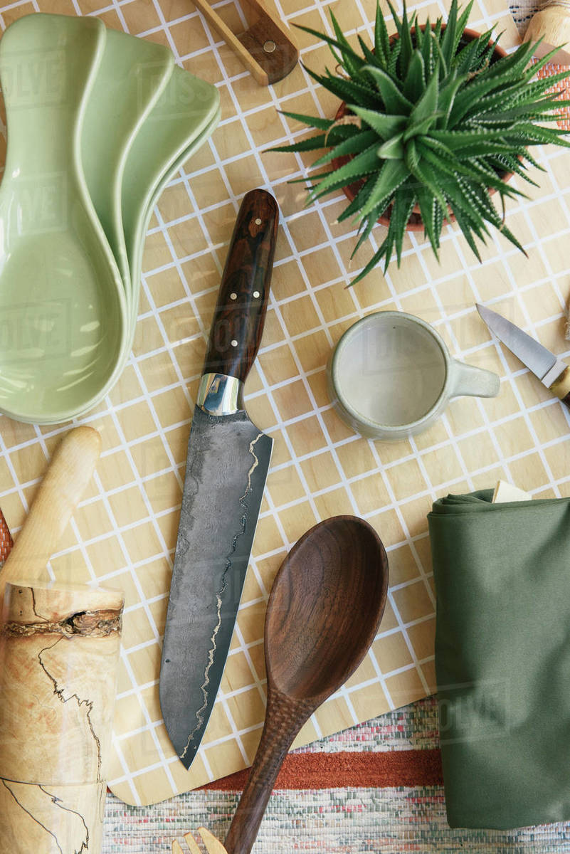 Kitchen and cooking supplies from overhead at store Royalty-free stock photo
