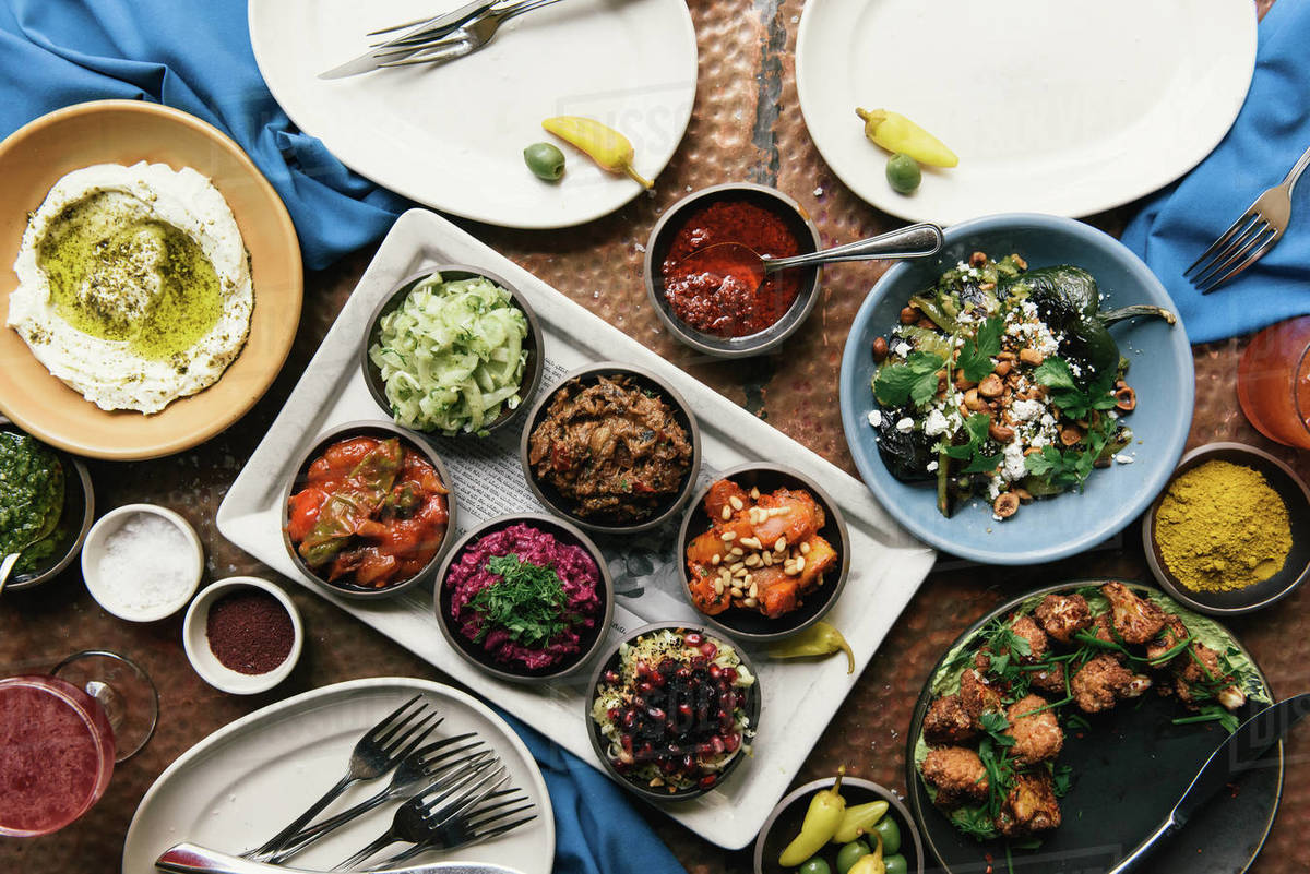 Grand buffet of traditional Israeli foods at fine dining restaurant Royalty-free stock photo