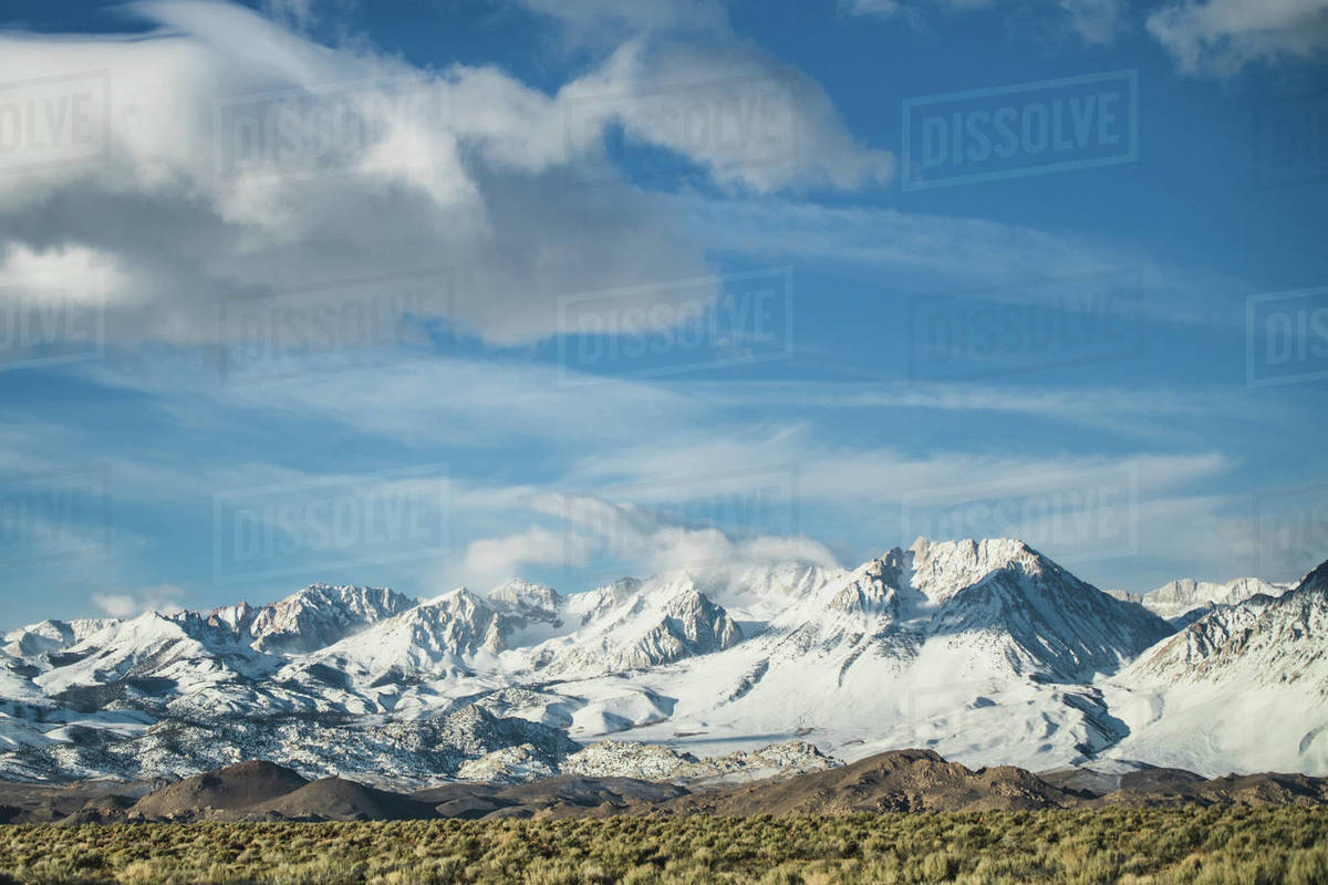 Morning sunrise view of the Eastern Sierras from the tablelands. Royalty-free stock photo