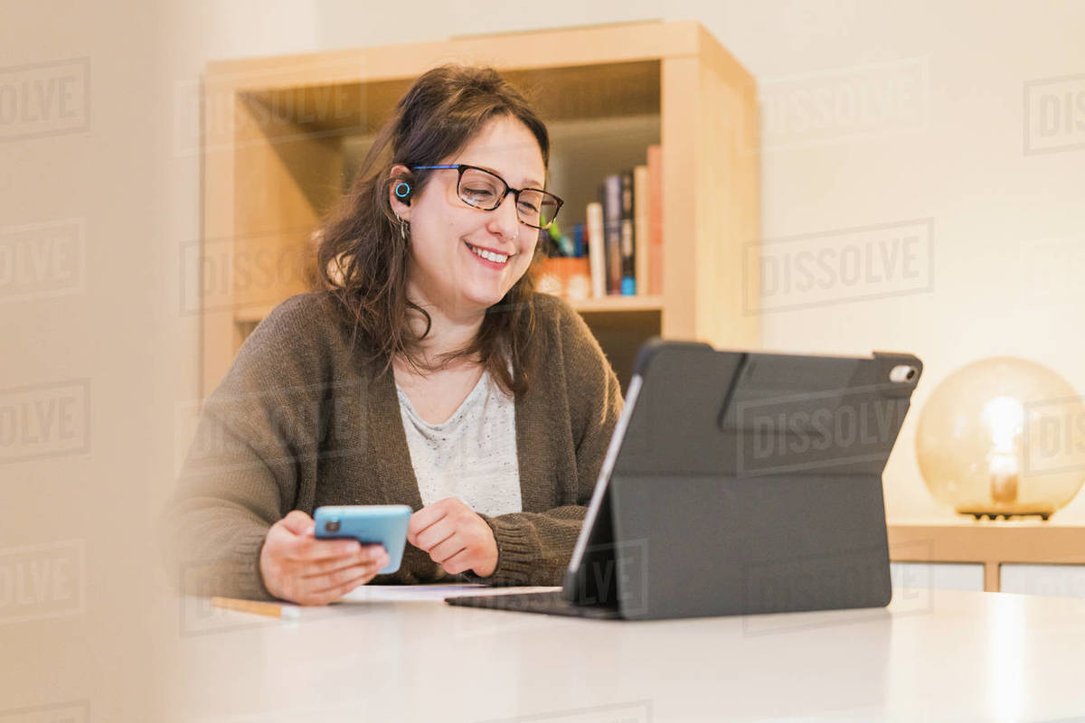 White Woman working from home Royalty-free stock photo