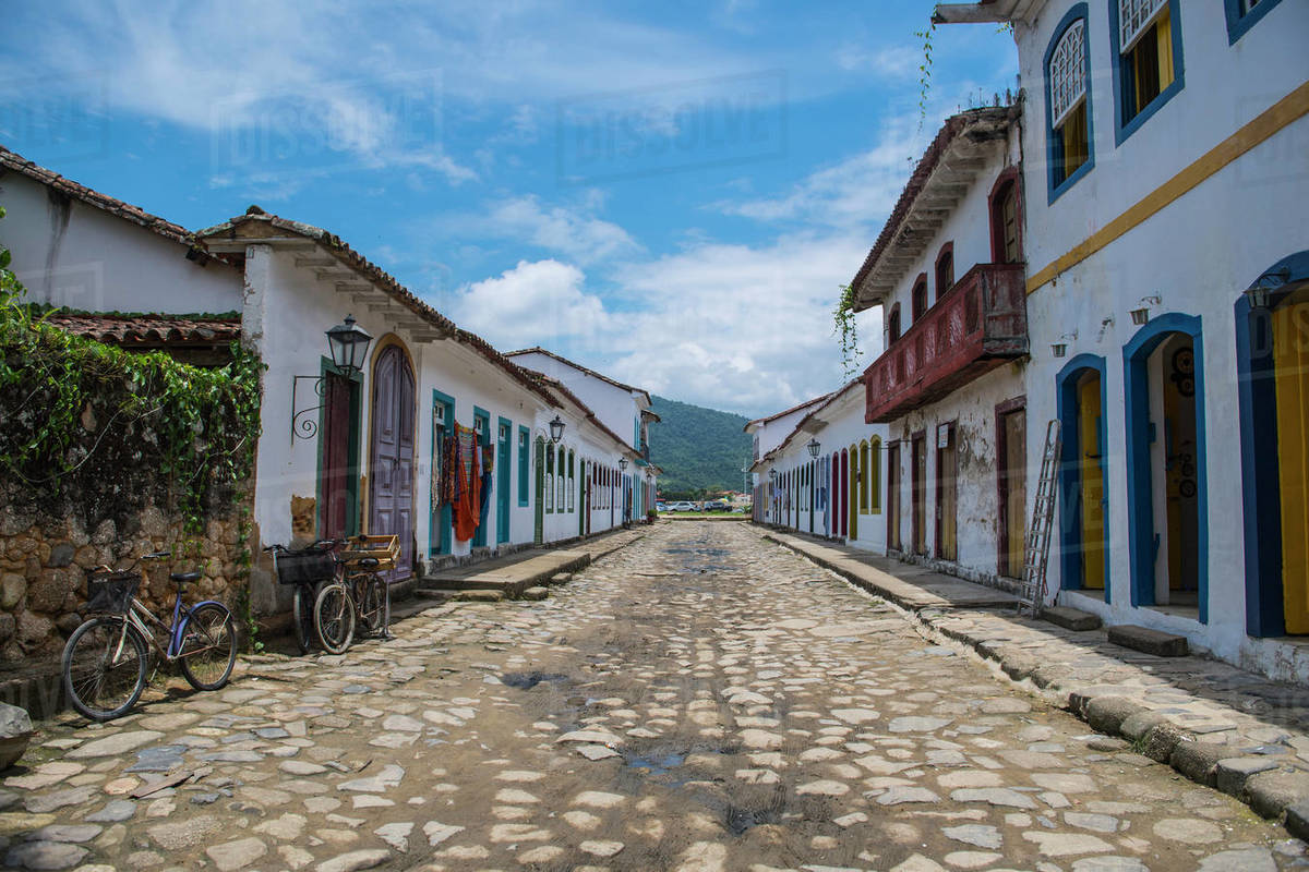 Street scene in the colonial town of Paraty in Brazil Royalty-free stock photo