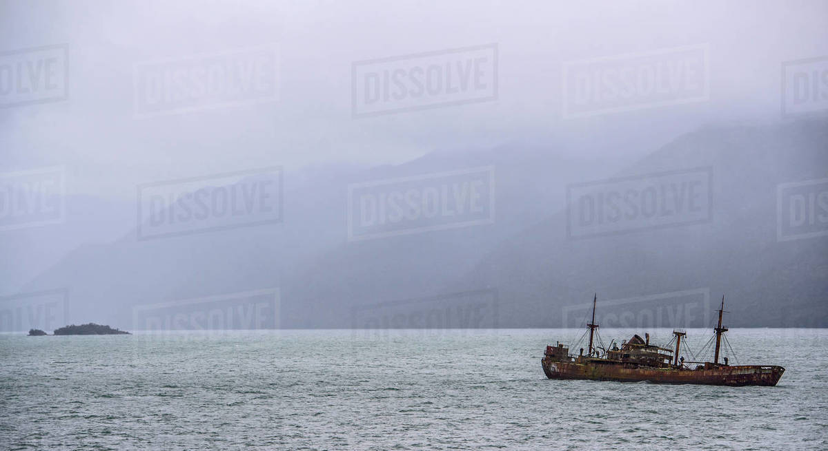 The Shipwreck of the Captain Leonidas in Messier Channel, Chile Royalty-free stock photo