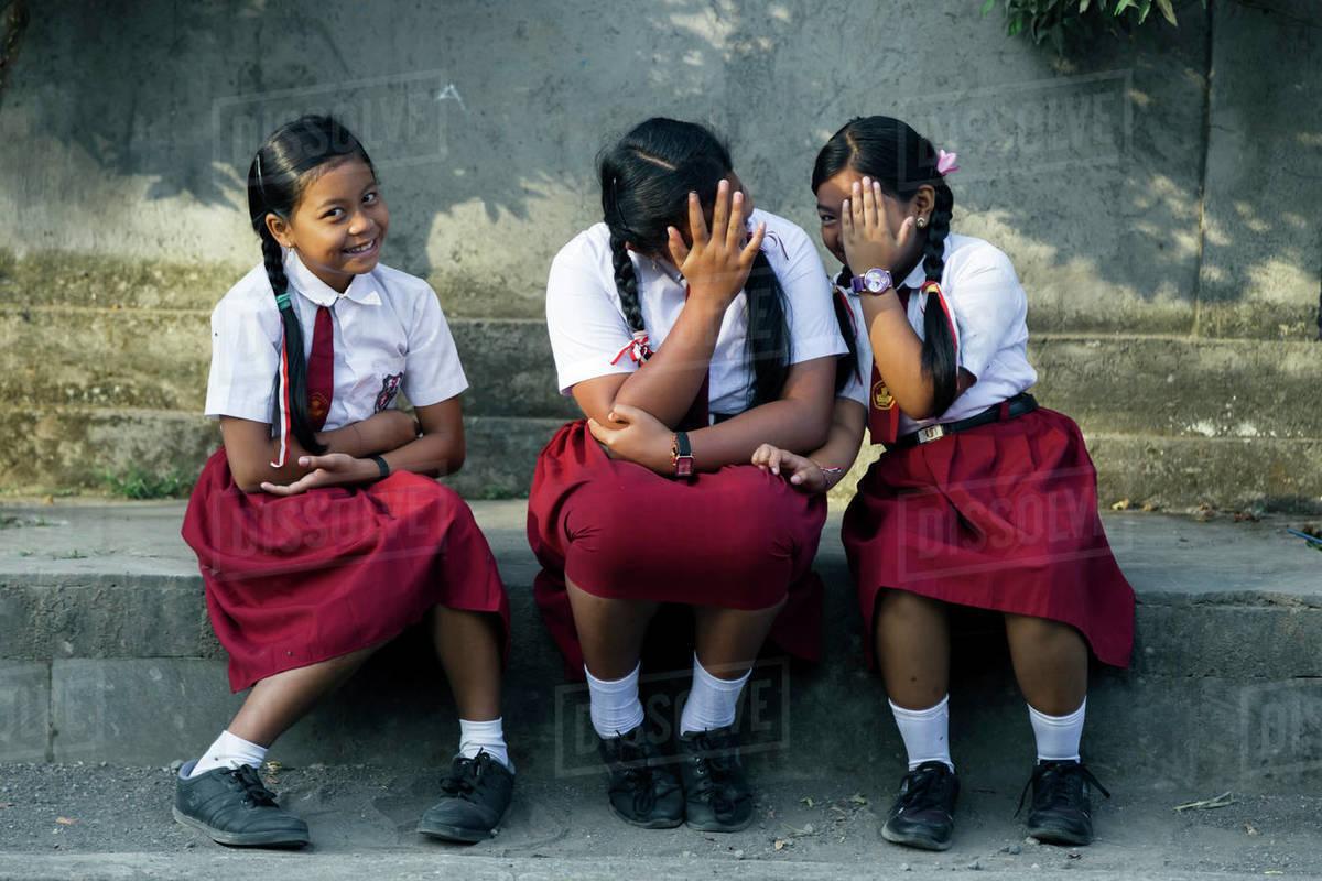 Portrait of schoolgirls in uniform, Bali, Indonesia Royalty-free stock photo