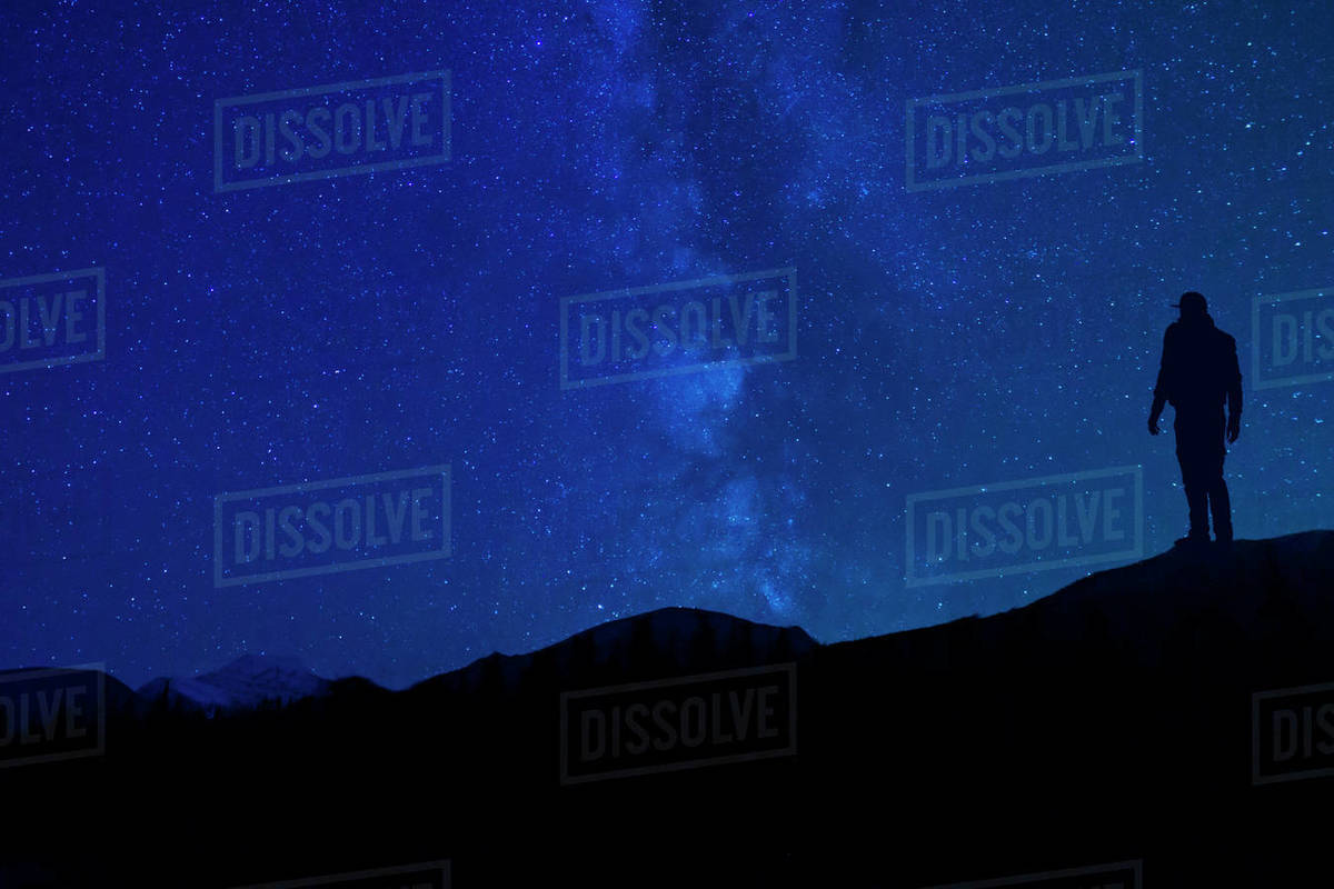 Star Gazing At Night Silhouette In Mountains Royalty-free stock photo