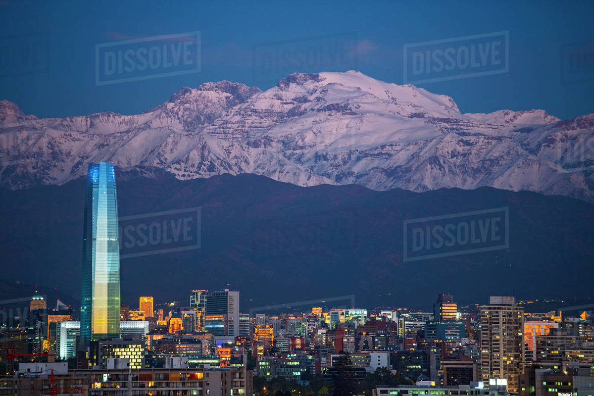 Elevated view of Santiago de Chile in the evening Royalty-free stock photo
