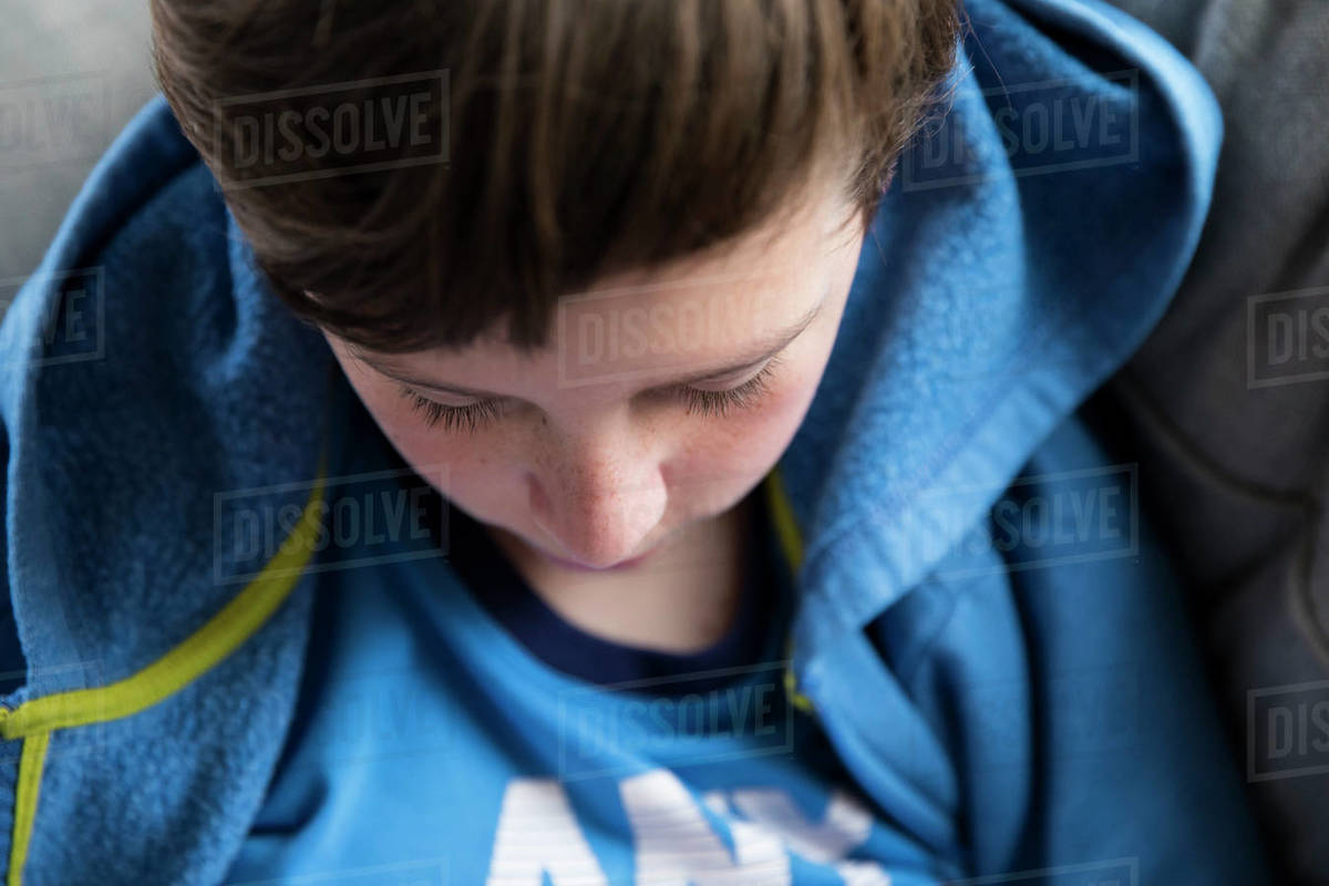 Close Up Overhead View of Teen Boy's Eyes, Eyelashes, Nose, Freckles Royalty-free stock photo