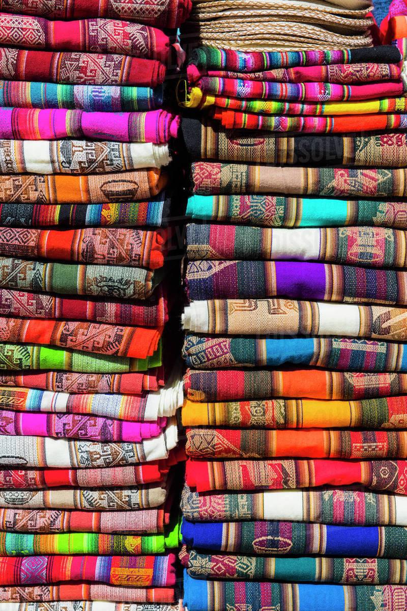 Colourful fabrics on market stall, San Pedro de Atacama Royalty-free stock photo