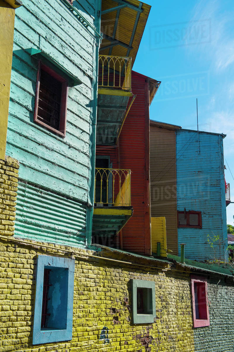 Colourful houses in the La Boca district in Buenos Aires Royalty-free stock photo