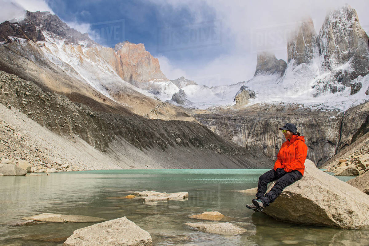 Female hiker at Torres del Paine National Park, Patagonia Royalty-free stock photo