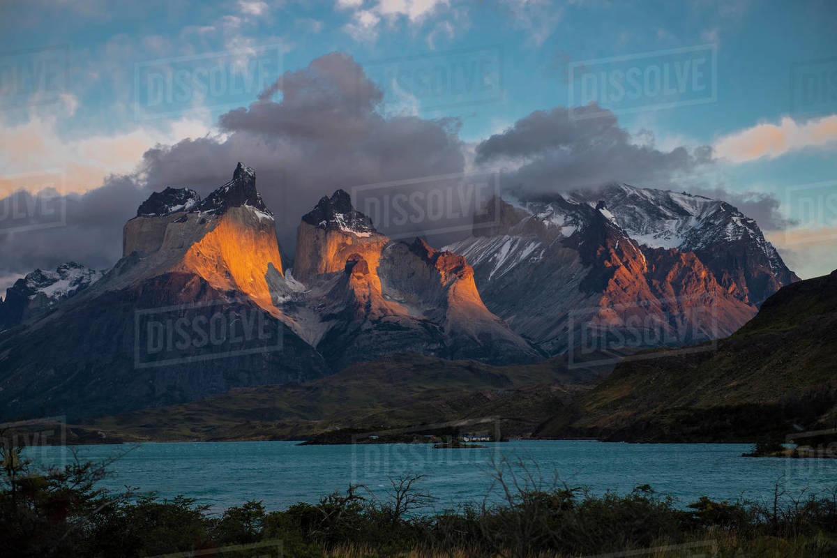 Sunrise at Torres del Paine national park in Patagonia Royalty-free stock photo
