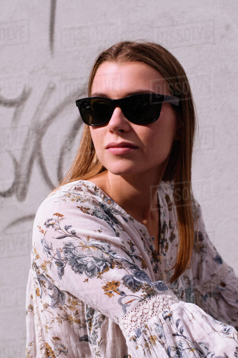 Portrait in the Sun of a Young Caucasian Blonde Royalty-free stock photo