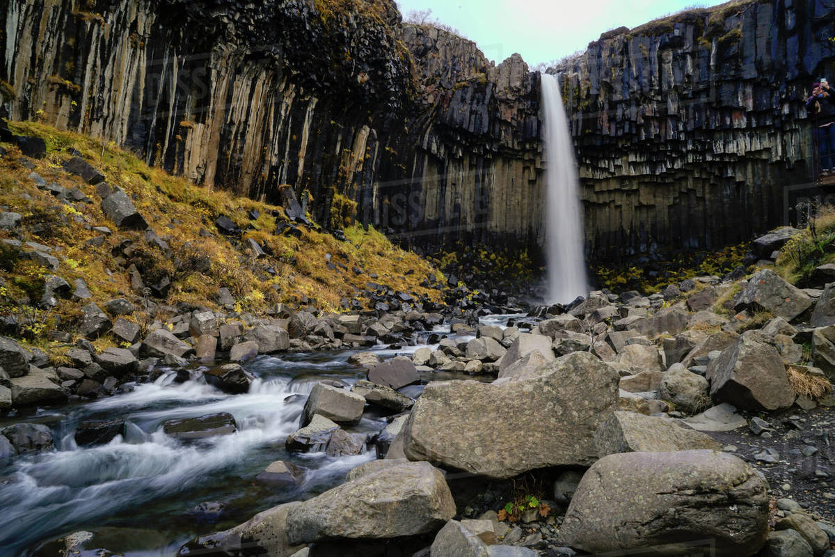 Svartifoss waterfall in Skaftafell National Park Royalty-free stock photo