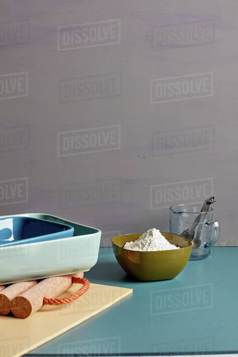 Kitchen prep glassware still life Royalty-free stock photo