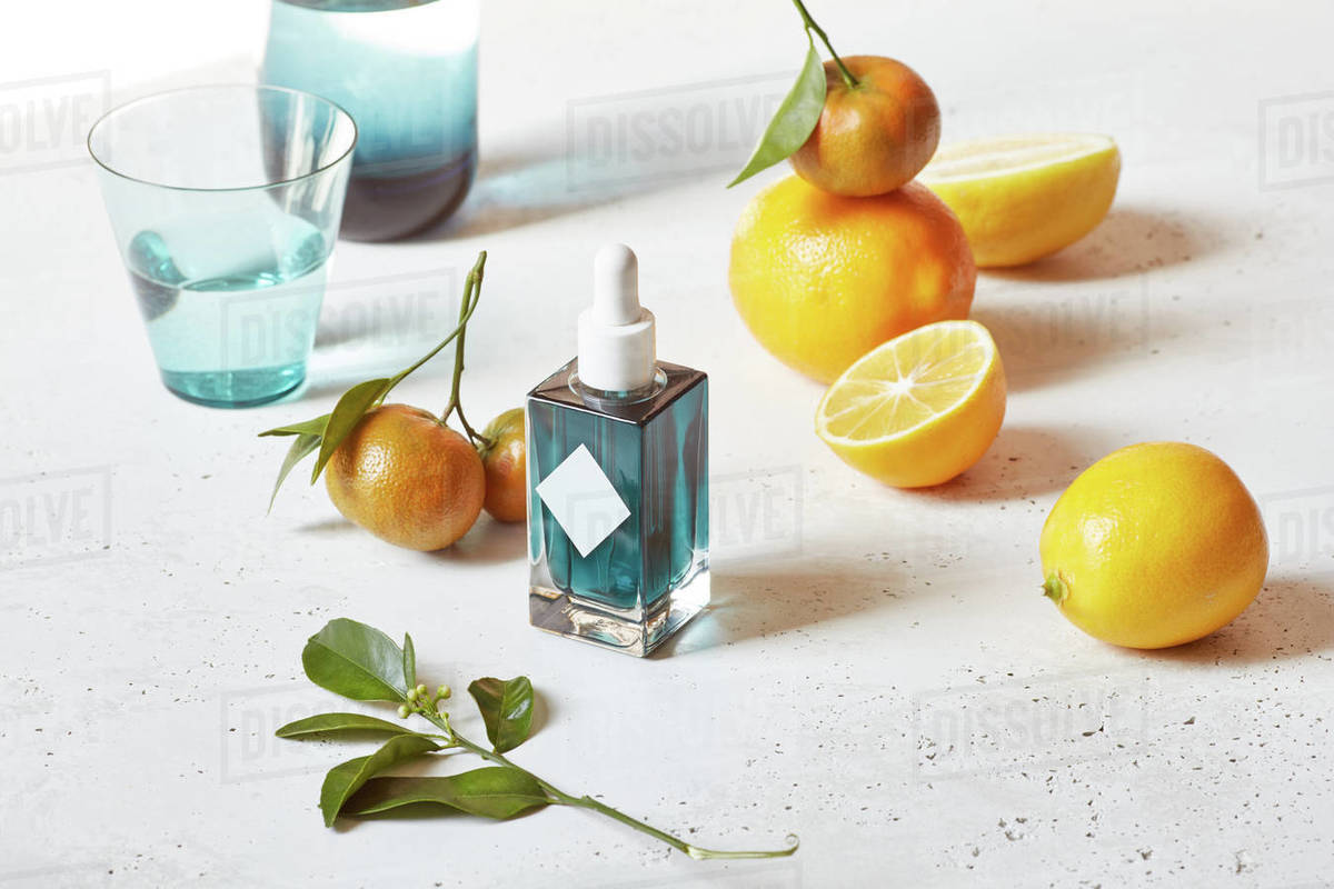 Skin care products with fruits Royalty-free stock photo