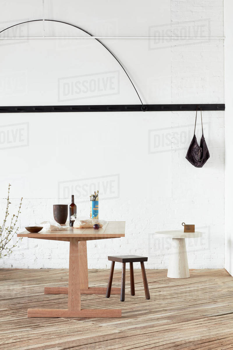 Custom furnishings and accessories in industrial space Royalty-free stock photo
